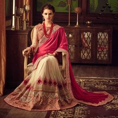 Cream And Pink Georgette Embroidered Saree