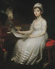 ♥ Portrait of a Young Woman  Mather Brown  (American, Boston, Massachusetts 1761–1831 London)  Date: 1801 Medium: Oil on canvas Dimensions: 50 x 40 1/4 in. (127 x 102.2 cm) Classification: Paintings Credit Line: Gift of Caroline Newhouse, 1965 Accession Number: 65.235
