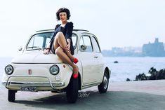 fiat 500 pin up Impression Poster, Pin Up Car, Fiat 600, Fiat Abarth, Car Posters, Cute Cars, Small Cars, Car Girls, Car Photography