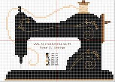 Embroidery : vintage sewing machine cross stitch pattern