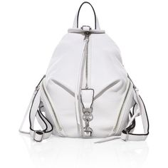 Rebecca Minkoff Julian Medium Leather Backpack (€205) ❤ liked on Polyvore featuring bags, backpacks, real leather backpack, strap backpack, rebecca minkoff bags, genuine leather backpack and white leather backpacks