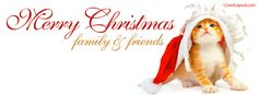Kitty Santa Merry Christmas Family and Friends Facebook Cover CoverLayout.com