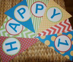 Birthday pennant banner polka dots and stripes with by bugandboo, $25.00