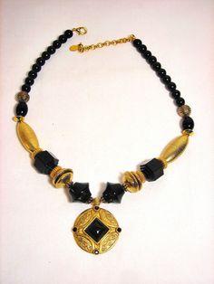 Robert Rose Black Bead and Goldtone Necklace Pendant #RobertRose #Pendant