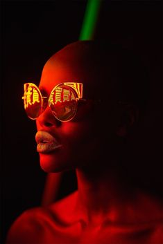 d1664af1aaf Pop Portraits with Neon Light Reflected in Sunglasses