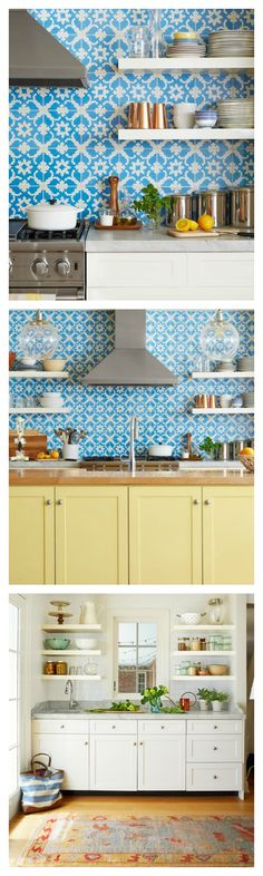 A statement-making backsplash tile and a fresh coat of yellowy green paint serve up a decidedly fresh feel in this colorful Louisville, Kentucky kitchen.