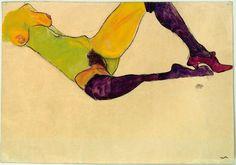 """Egon Schiele, Nudo femminile. """" Ah, la bugia dei corpi perfetti, La gran bugia marcita delle relazioni perfette, dei momenti perfetti: I corpi possono essere perfetti Solo al prezzo di un tradimento,..."""