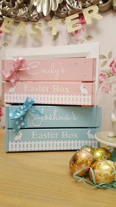 PERSONALISED Children's EASTER CRATE box by Littlelightstudios Homemade Easter Baskets, Easter Hampers, Easter Gift, Easter Crafts, Easter Ideas, Balloon Box, Easter Religious, Diy Ostern, Homemade Christmas Gifts