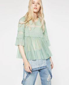 Imagem 2 de BLUSA TULE FOLHOS da Zara