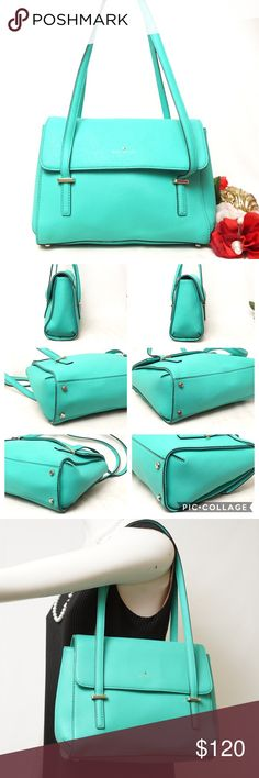 """EUC KATE SPADE LEATHER SHOULDER BAG Adorable Color!! Beautiful style. Preloved in excellent condition. Gently used. Shows minor signs of use. This is one of the most beautiful thing your closet will have. Size 12""""x11""""x4"""". AUTHENTIC❣️LEATHER ❣️FAST SHIPPING!   ⏳My items sell fast. Get them before gone. Bundle & save🎯 kate spade Bags Shoulder Bags"""