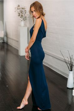 Bodycon fit v-neck high slit backless maxi navy slip dress Navy Dress Outfits, Fashion Dresses, Bridesmaid Dresses, Prom Dresses, Formal Dresses, Bridesmaids, Mode Inspiration, Ball Dresses, Beautiful Gowns