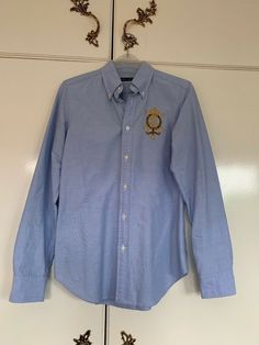 2134cdfbb64 Ladies Ralph Lauren Blue Cotton Mix Fitted Shirt Blouse Size 6 #fashion  #clothing #