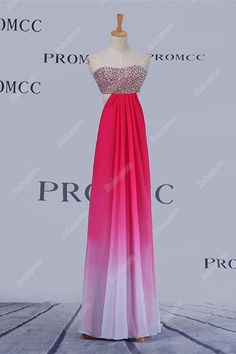 9384611659 A-line Pink Ombre Chiffon Long Beading Sweetheart Prom Dresses For Teens  Z0406