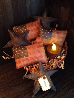 Primitive+American+Flag+and+Blue+Stars+Bowl+by+Countrybabiesusa