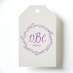 RUSTIC WREATH Monogram Gift Tags set of 25 by PicturePerfectPapier