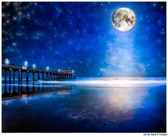Sold an Art Print of a Starry Night And Full Moon Over the beach at Tybee Island – Georgia