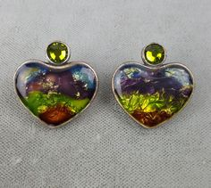Chicos pierced earrings heart-shaped green blue purple orange foil under resin…