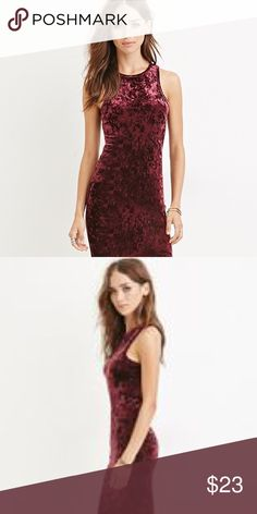 Velvet Burgundy Dress Want to look sexy, chic, and stand out from the crowd? Look no further. The material is thicker than your average cotton dress, therefore making it perfect for the winter. No rips, stains, snags, pulls, or any other flaws. Dress is in excellent condition, having only been worn one time. Forever 21 Dresses Mini