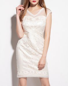 White Yoke Embroidery V Neck Sheath Mini Dress, White, YZXH | VIPme