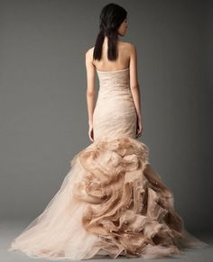 Vera Wang Nude organza and Italian tulle strapless mermaid gown with hand-pieced Chantilly lace appliqué and cascading organza eyelash by heather