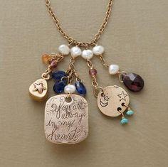 Isabella Necklace - turquoise, gemstones, pearls, raw diamond, 14K yellow & rose gold