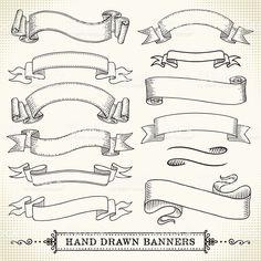 Mão desenhadas Banners vetor e ilustração royalty-free royalty-free