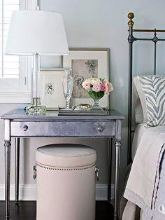 Nice table & vignette for bedside table.