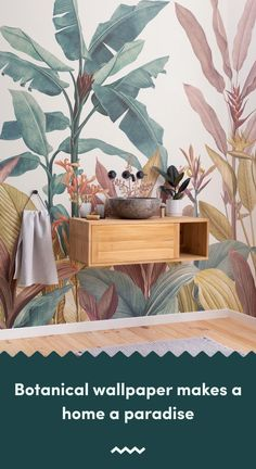 Welcome fresh tropicals into your space full of stylish tone and detail with this tropical minimalist wallpaper. Tropical Wallpaper, Botanical Wallpaper, Beach Wallpaper, Green Wallpaper, Bathroom Wallpaper, Botanical Bathroom, Bird Prints, Leaf Prints, New Bathroom Ideas