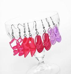 Upcycled DIY handmade design jewelry, toy shoe earrings.