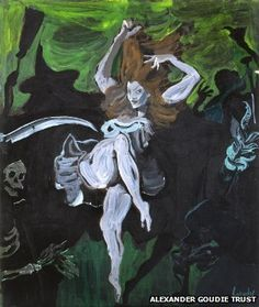Painting from Alexander Goudie Trust. Links to article on BBC about Goudie's fascination with Nannie, the 'Cutty Sark' from Robert Burns' poem.