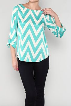 teal chevron top $38