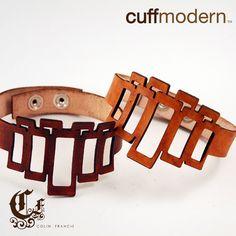 Cutout leather cuffs
