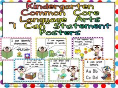 Language Arts Common Core Standards- I Can Statements for Kindergarten $