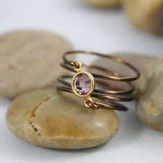 Wire Wrapped Pink Swarovski Crystal Ring