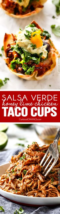 Salsa Verde Honey Lime Chicken Taco Cups - the cheesy sweet heat packed into the., Verde Honey Lime Chicken Taco Cups - the cheesy sweet heat packed into these crispy, taco cups is so addicting and the mango guacamole is the pe. Lime Chicken Tacos, Honey Lime Chicken, Salsa Picante, Salsa Verde, Yummy Appetizers, Appetizer Recipes, Mexican Appetizers, Recipes Dinner, Dessert Recipes
