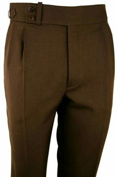 Classic brown trousers with no beltloops and 45 cm waist band with elongated button point. Trousers Women Outfit, Men Trousers, Mens Dress Pants, Men Dress, Mens Pleated Trousers, Designer Casual Shirts, Designer Suits For Men, Bespoke Clothing, Bespoke Shirts