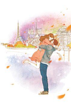 s t o c k // 갤러리 - Couple (art) - Page 3 - Wattpad Love Cartoon Couple, Cute Love Cartoons, Cute Love Couple, Girl Cartoon, Korean Illustration, Couple Illustration, Illustration Art, Tour Eiffel, Dibujos Cute