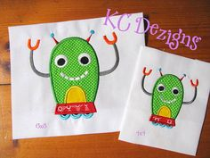 Robot 01 Machine Applique Embroidery Design  4x4 5x7 by KCDezigns