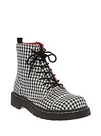 HOTTOPIC.COM - Anarchic By T.U.K. Black And White Gingham Boots
