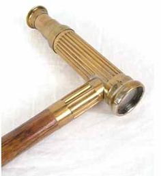215. 34.25� Wooden Cane with Brass Telescope Handl