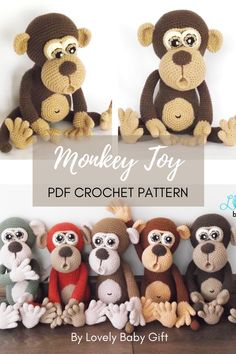 Amigurumi toy is a perfect friend for any child so do it yourself for your kid or anyone you love. This naughty monkey crochet pattern is easy to follow with many detailed pictures to help you on the way. You'll have fun making this sweet toy! #amigurumipattern#monkeycrochet#lovelybabygift Crochet Patterns Amigurumi, Crochet Dolls, Knitting Patterns, Crochet For Boys, Cute Crochet, Crochet Projects, Diy Projects, Baby Shower Gifts For Boys, Safari Animals
