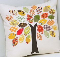 Unique DIY Thanksgiving Craft Design Idea : A Fall Pillow Thanksgiving Craft Project Idea -- How about having everyone write on a leaf what they are thankful for and then make a pillow every year