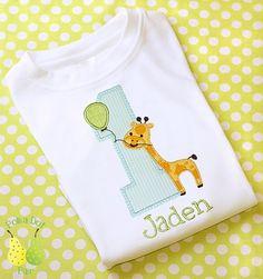GIRAFFE ZOO SAFARI 1st 2nd 3rd Birthday personalized Custom monogrammed short sleeve onesie child's T-Shirt appliqued embroidered