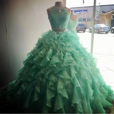 Two Piece Quinceanera Dresses Ball Gowns Organza Layered With Lace Crop