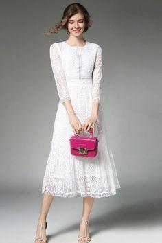 Fairy Dreams Ladies Midi Dresses White Lace Women Summer Autumn Elegant Dress 2017 Hot Sale Plus Size Clothing vestidos de festa Modest White Dress, White Midi Dress, Lace Dress, Lace Maxi, Simple Dresses, Pretty Dresses, Beautiful Dresses, Beautiful Bride, Casual Dresses