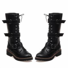 Carolbar Women's Fashion Buckles Zipper Lace up Combat Cosplay Gothic... ($42) ❤ liked on Polyvore featuring shoes, boots, ankle booties, lace up combat boots, black buckle booties, black booties, lace-up ankle booties and combat boots