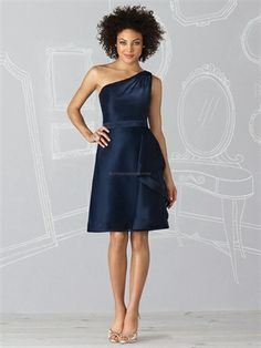 My new favourite!!! I really like this one...what do we think ladies? Picture of One Shoulder A-Line Navy Organza Cheap Cocktail Dresses