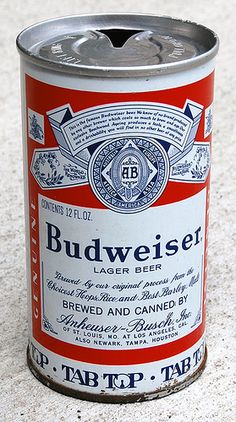Budweiser Beer Tab Top Can, 1960's