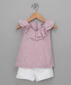 Take a look at this Red Seersucker Top & White Shorts - Toddler & Girls by Petit Confection on #zulily today!