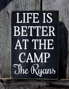 Custom Personalized Camping Campground Camper Signs Summer Gift Ideas RV Outdoor Cabin House Decor Sign Lake River Mountain Plaque Life Is Better At The Camp Beach Wedding Signs, Wood Wedding Signs, Wood Signs, Dyi Signs, Pallet Signs, Cabin Signs, Lake Signs, Camper Signs, Lake Decor